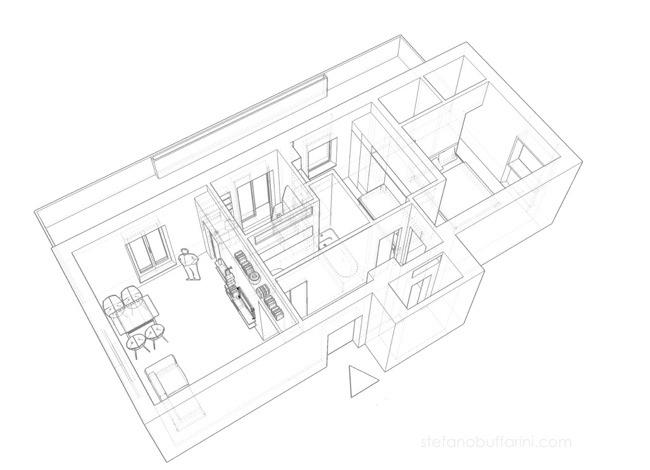Casa 50 mq in questo di mq da arredare la progettista ha for Monolocale dwg