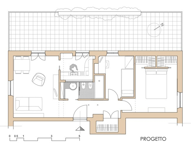 Progetto appartamento 50 mq confortevole soggiorno nella for Piani di idee di progettazione seminterrato