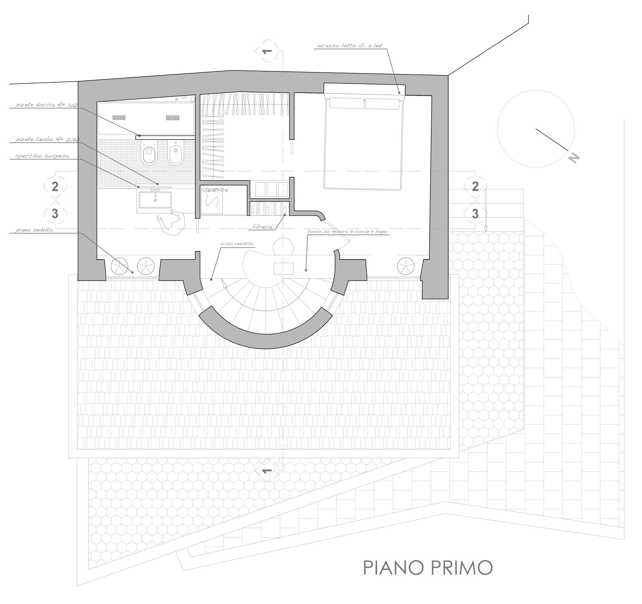 Design scritto di notte for Layout del bagno principale